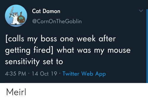 Twitter, Mouse, and MeIRL: Cat Damon  @CornOnTheGoblin  [calls my boss one week after  getting fired] what was my mouse  sensitivity set to  4:35 PM 14 Oct 19 Twitter Web App Meirl