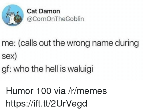 Anaconda, Memes, and Sex: Cat Damon  @CornOnTheGoblin  me: (calls out the wrong name during  sex)  gf: who the hell is waluigi Humor 100 via /r/memes https://ift.tt/2UrVegd