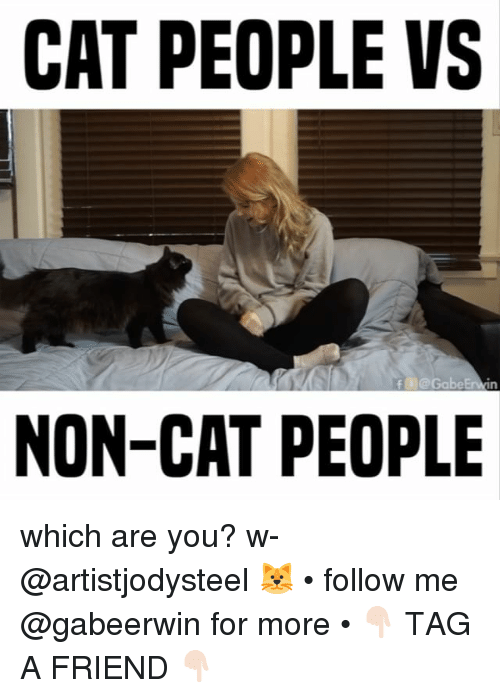 Memes, 🤖, and Cat People: CAT PEOPLE VS  NON-CAT PEOPLE which are you? w- @artistjodysteel 🐱 • follow me @gabeerwin for more • 👇🏻 TAG A FRIEND 👇🏻
