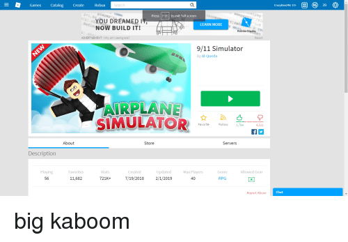 Catalog 39 Games Create Robux Search Press F11 To Exit Full Screen You Dreamed It Now Build It Learn More Roblox Studio Advertisement Why Am I Seeing Ads Report 911 Simulator