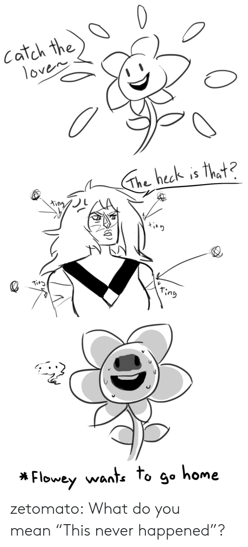 "Tumblr, Blog, and Home: Catch the  1oven   The heck is that?  King  Tirg  ring   Flowey wante to go home zetomato:  What do you mean ""This never happened""?"