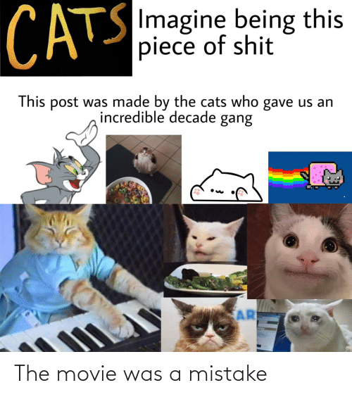 piece: CATS  SImagine being this  piece of shit  This post was made by the cats who gave us an  incredible decade gang  AR The movie was a mistake