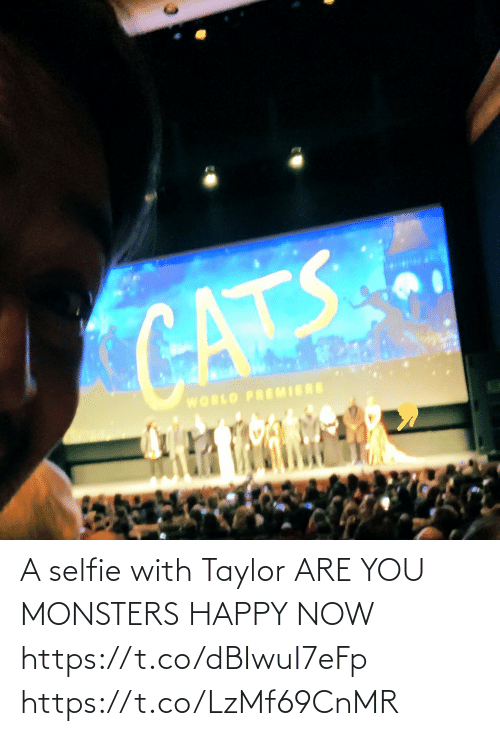 taylor: CATS  WORLD PREMIERE A selfie with Taylor ARE YOU MONSTERS HAPPY NOW https://t.co/dBIwuI7eFp https://t.co/LzMf69CnMR