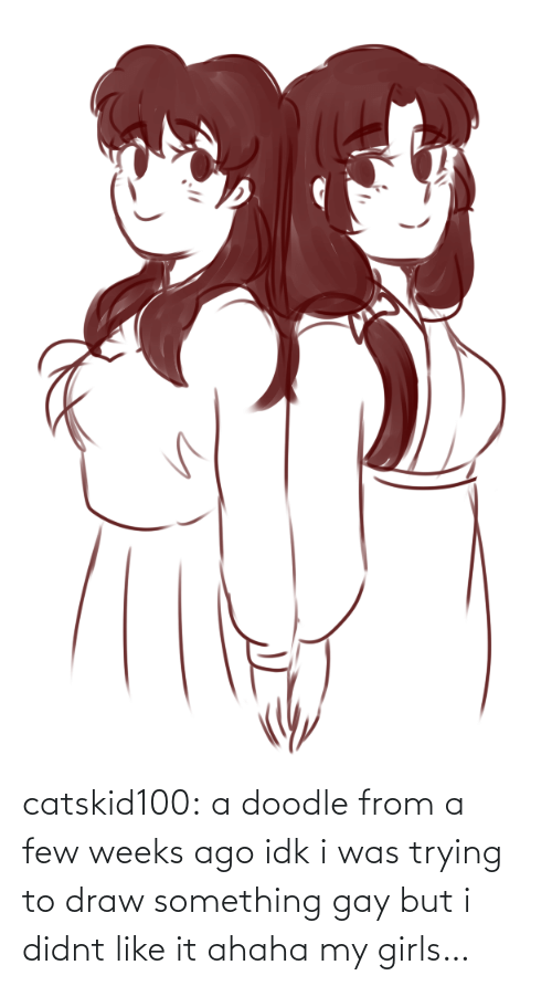 draw: catskid100:  a doodle from a few weeks ago idk i was trying to draw something gay but i didnt like it ahaha my girls…
