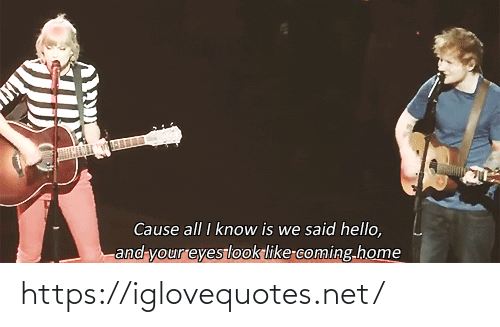 Coming Home: Cause all I know is we said hello,  and your eyeslook like-coming.home https://iglovequotes.net/