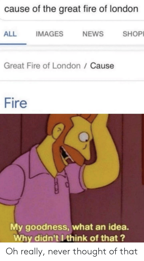 Fire, News, and Reddit: cause of the great fire of london  SHOP  IMAGES  NEWS  ALL  Great Fire of London / Cause  Fire  My goodness, what an idea  Why didn't I think of that? Oh really, never thought of that