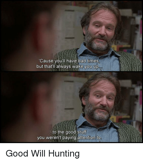 Bad, Memes, and Hunting: Cause you'll have bad times  but thatl always wake you up  to the good stuff  you weren't paying attention to Good Will Hunting