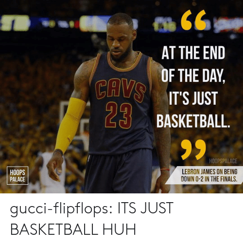 cav: CAV  29  AT THE END  F THE DAY,  IT'S JUST  BASKETBALL  HOOPS  PALACE  HOOPSPALACE  LEBRON JAMES ON BEING  DOWN O-2 IN THE FINALS, gucci-flipflops:  ITS JUST BASKETBALL HUH