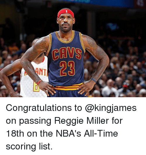 Cavs Congratulations To On Passing Reggie Miller For 18th On The