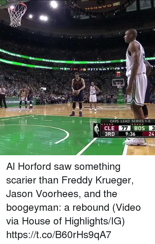 rebounder: CAVS LEAD SERIES 1-0  CLE 77 BOS  3RD  9:36  24 Al Horford saw something scarier than Freddy Krueger, Jason Voorhees, and the boogeyman: a rebound  (Video via House of Highlights/IG) https://t.co/B60rHs9qA7