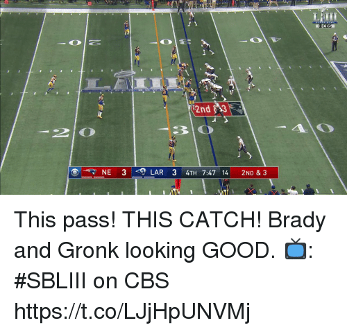 looking good: CBS  2nd $3  NE 3  LAR 3 4TH 7:47 14 2ND & 3 This pass! THIS CATCH!  Brady and Gronk looking GOOD.  📺: #SBLIII on CBS https://t.co/LJjHpUNVMj