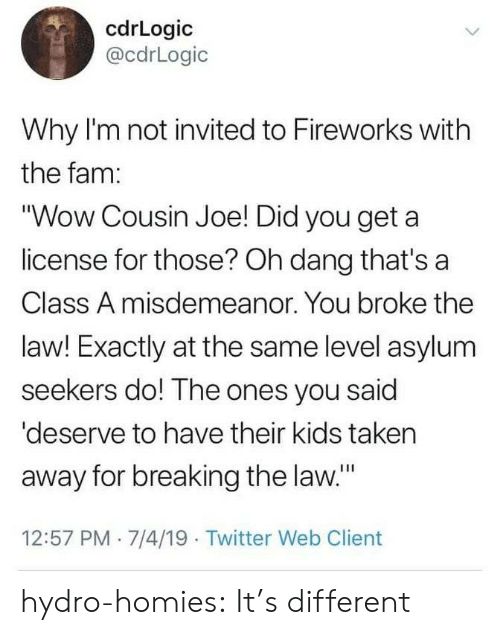 "client: cdrLogic  @cdrLogic  Why I'm not invited to Fireworks with  the fam:  ""Wow Cousin Joe! Did you get a  license for those? Oh dang that's a  Class A misdemeanor. You broke the  law! Exactly at the same level asylum  seekers do! The ones you said  'deserve to have their kids taken  away for breaking the law.""  12:57 PM 7/4/19 Twitter Web Client hydro-homies: It's different"