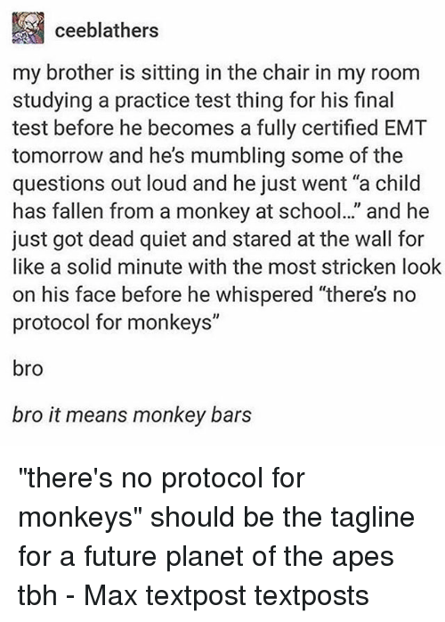 """Emt: ceeblathers  my brother is sitting in the chair in my room  studying a practice test thing for his final  test before he becomes a fully certified EMT  tomorrow and he's mumbling some of the  questions out loud and he just went """"a child  has fallen from a monkey at school.."""" and he  just got dead quiet and stared at the wall for  like a solid minute with the most stricken look  on his face before he whispered """"there's no  protocol for monkeys""""  bro  bro it means monkey bars """"there's no protocol for monkeys"""" should be the tagline for a future planet of the apes tbh - Max textpost textposts"""