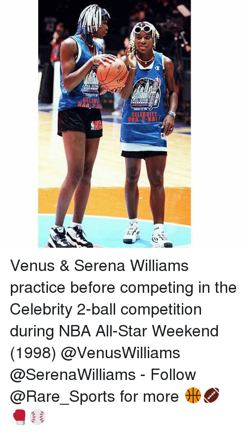 nba all stars: CELEBRITY  NBA 2-BALI Venus & Serena Williams practice before competing in the Celebrity 2-ball competition during NBA All-Star Weekend (1998) @VenusWilliams @SerenaWilliams - Follow @Rare_Sports for more 🏀🏈🥊⚾️