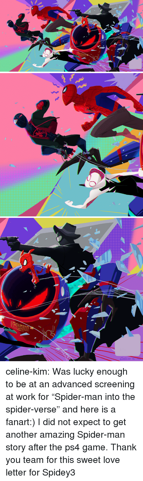 """Love, Ps4, and Spider: celine-kim:  Was lucky enough to be at an advanced screening at work for """"Spider-man into the spider-verse"""" and here is a fanart:) I did not expect to get another amazing Spider-man story after the ps4 game. Thank you team for this sweet love letter for Spidey3"""