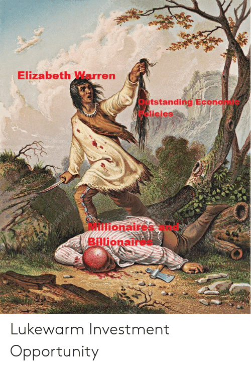 Elizabeth Warren, Opportunity, and Investment: CENCEOHO  Elizabeth Warren  Outstanding Econdy  Palicies  haolBRARY  OUBRARY  Millionaire  Billionan Lukewarm Investment Opportunity