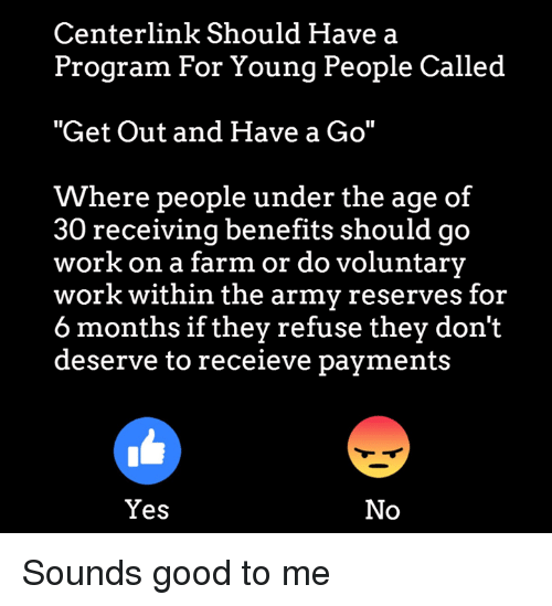 """Memes, Work, and Army: Centerlink Should Have a  Program For Young People Called  """"Get Out and Have a Go""""  Where people under the age of  30 receiving benefits should go  work on a farm or do voluntary  work within the army reserves for  6 months if they refuse they don't  deserve to receieve payments  Yes  No Sounds good to me"""