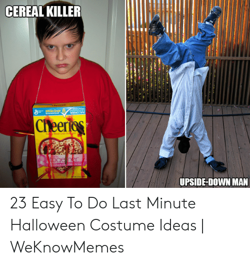 Halloween, Cheerios, and Her: CEREAL KILLER  ca Whole Grain  Guaranted  Cheerios  Whole an Oagal s  To  bink  Oge her  Million e  UPSIDE-DOWN MAN  e 23 Easy To Do Last Minute Halloween Costume Ideas   WeKnowMemes