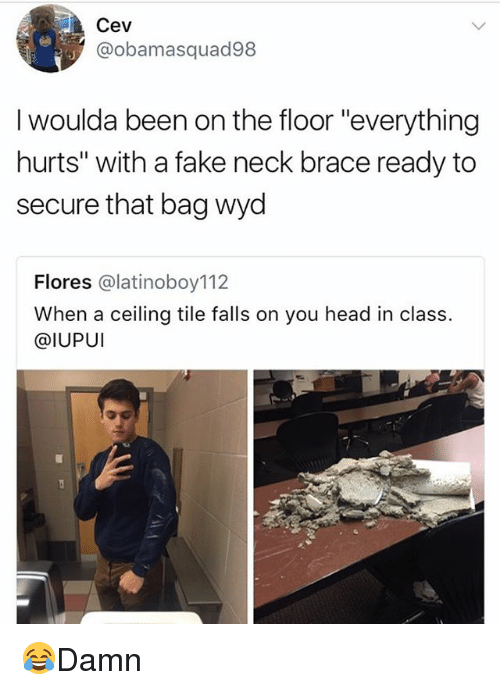 "Fake, Head, and Memes: Cev  @obamasquad98  I woulda been on the floor ""everything  hurts"" with a fake neck brace ready to  secure that bag wyd  Flores @latinoboy112  When a ceiling tile falls on you head in class.  @IUPUI 😂Damn"