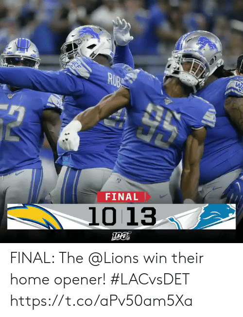Memes, Home, and Lions: CF  ΕΤ  ΝNN-  Η  FINAL  10 13  μο FINAL: The @Lions win their home opener! #LACvsDET https://t.co/aPv50am5Xa
