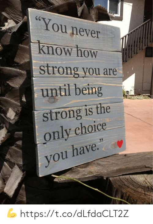 """you never know: CG  You never  Know how  strong you are  until being  strong is the  only choice  95  you have."""" 💪 https://t.co/dLfdaCLT2Z"""