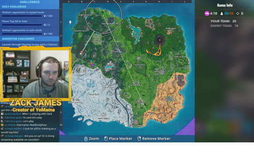 Salty Springs: CHALLENGES  Game Info  DAILY CHALLENGES  Outlast opponents in squad mode  Place Top 50 in Solo  4:18 20:18 0  JUNKJ NCTION  0 150  YOUR TEAM: 20  ENEMY TEAM: 18  PROSPARTANER'S BLO K  0/3  SUNNY STEPS  Outlast opponents in solo mode  HAUNTED HILLS  0/150  LAZ LAGOON  SUGGESTED CHALLENGES  PLEASANT PARK  Launch through flaming hoops with a Cannon  LOOT  LONELY LODGE  SHORES  DUSTY DIVOT  RS  SALTY SPRINGS  SHIFTY SHAFTS  POLAR PEAK  ACKAES  PARADISE PALMS  FATAL FIELDS  ROSTY FLİGH  nicholas Kangas. Breatne. it's a game, you  got this mCreator of YoMama  austin lambus: Who r u playing with Zack  francisco ayala: Let's play  richard redden: I suck im still in training as u  nicholas kangas: Are you on cp? Or is living  &francisco ayala: Yo zack let's play  HAPPY HAMLET  a: Username: RealBrodyfoxx  10  LUCKY LANDING  would say lolol  e® Place Marker  Remove Marker  zoom  streaming available on consoles?