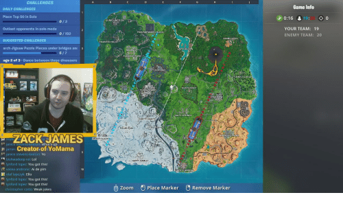 Salty Springs: CHALLENGES  Game Info  DAILY CHALLENGES  Place Top 50 in Solo  Outlast opponents in solo mode  0:16 & 19:  ◇0  JUNKJUNCTION  0/3  YOUR TEAM: 19  ENEMY TEAM: 20  PROSPARTANER'S BLOCK  0/150  SUNNY STEPS  SUGGESTED CHALLENGES  arch Jigsaw Puzzle Pieces under bridges an 3  age 2 of 3 - Dance between three dinosaurs  HAUNTED HILLS  PLEASANT PARK  LOOTLAKE  LONELY LODGE  SHORES  DUSTY.DIVOT  TILTED TOWERS  ETAILROW  SALTY SPRINGS  SHIFTY SHAFTS  POLAR PEAK  ZACK JAMES  PARADISE PALMS  FATA  FROSTY FLİGHTSK  janice Stevens-Keeton: What's up  james Creator ofYoMama  janice stevens-keeton: Yo  bishwadeep rar Lol  lynford lopez: You got this!  vasea andronic: Ai de plm  ( .. HAPPY HAMLET'  10  CKY LANDIN  酬olar lapczy  k: Ello  lynford lopez: You got this!  lynford lopez: You got this!  Remove Marker  θ Zoom  Place Marker  christopher cotto: Weak jokes