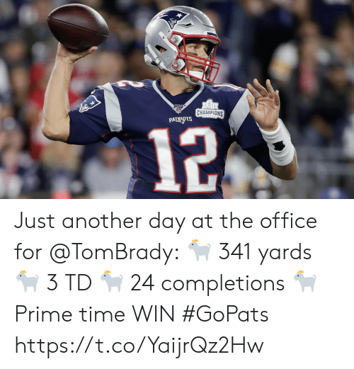 Memes, Patriotic, and The Office: CHAMPIONS  PATRIOTS  12 Just another day at the office for @TomBrady: 🐐 341 yards 🐐 3 TD 🐐 24 completions 🐐 Prime time WIN #GoPats https://t.co/YaijrQz2Hw