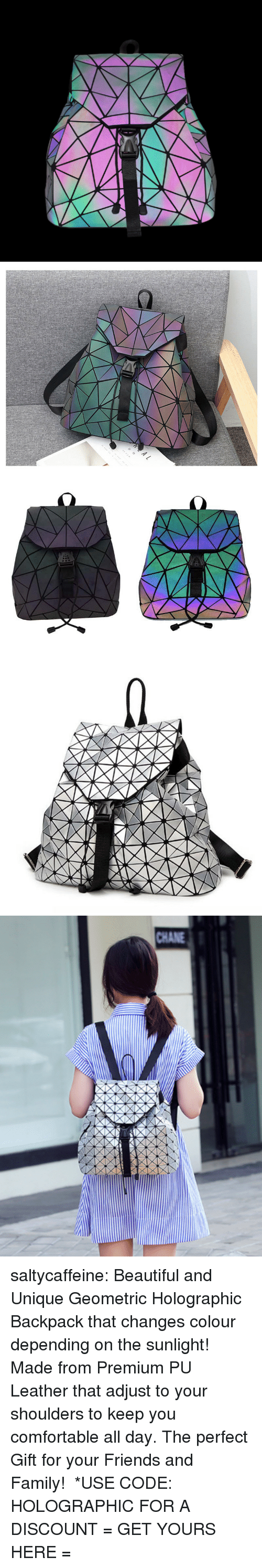 Beautiful, Comfortable, and Family: CHANE saltycaffeine: Beautiful and Unique Geometric Holographic Backpack that changes colour depending on the sunlight! Made from Premium PU Leather that adjust to your shoulders to keep you comfortable all day. The perfect Gift for your Friends and Family! *USE CODE: HOLOGRAPHICFOR A DISCOUNT = GET YOURS HERE =