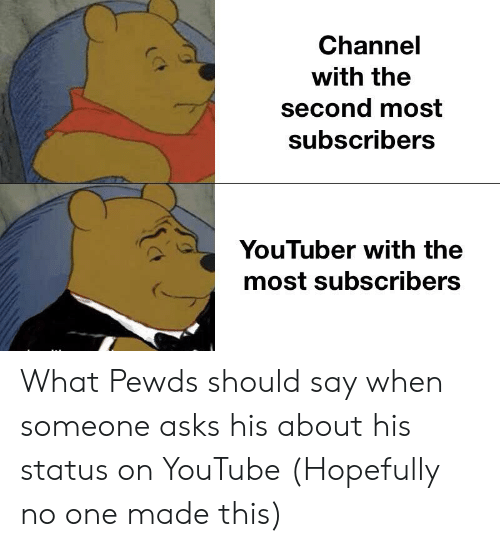 youtube.com, Asks, and Youtuber: Channel  with the  second most  subscribers  YouTuber with the  most subscribers What Pewds should say when someone asks his about his status on YouTube (Hopefully no one made this)
