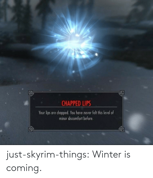 Winter: CHAPPED LIPS  Your lips are chapped. You have never felt this level of  minor discomfort before. just-skyrim-things: Winter is coming.