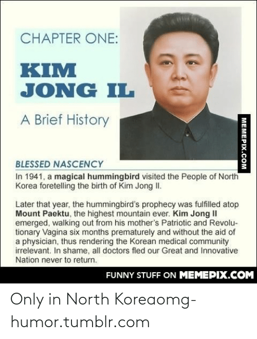 Jong Il: CHAPTER ONE:  KIM  JONG IL  A Brief History  BLESSED NASCENCY  In 1941, a magical hummingbird visited the People of North  Korea foretelling the birth of Kim Jong II.  Later that year, the hummingbird's prophecy was fulfilled atop  Mount Paektu, the highest mountain ever. Kim Jong II  emerged, walking out from his mother's Patriotic and Revolu-  tionary Vagina six months prematurely and without the aid of  a physician, thus rendering the Korean medical community  irrelevant. In shame, all doctors fled our Great and Innovative  Nation never to return.  FUNNY STUFF ON MEMEPIX.COM  MEMEPIX.COM Only in North Koreaomg-humor.tumblr.com