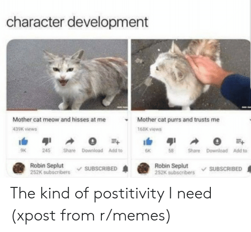 Memes, Cat, and Robin: character development  Mother cat meow and hisses at me  Mother cat purrs and trusts me  439K views  16BK views  9K  245  Share Download Add to  Share Download Add to  6K  Robin Seplut  252K subscribers  Robin Seplut  252K subscribers  SUBSCRIBED  SUBSCRIBED The kind of postitivity I need (xpost from r/memes)