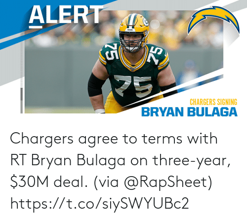 deal: Chargers agree to terms with RT Bryan Bulaga on three-year, $30M deal. (via @RapSheet) https://t.co/siySWYUBc2