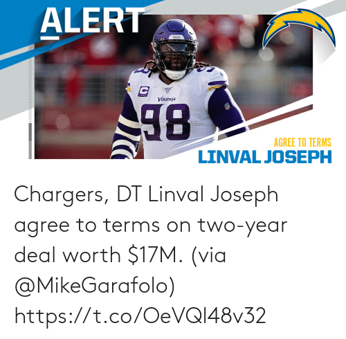 Memes, Chargers, and 🤖: Chargers, DT Linval Joseph agree to terms on two-year deal worth $17M. (via @MikeGarafolo) https://t.co/OeVQl48v32