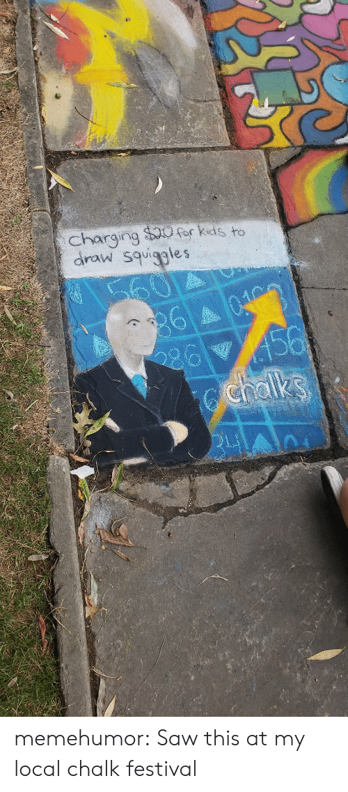 Saw, Tumblr, and Blog: charging $0for kids to  draw squiggles  60  360403  456  chalks memehumor:  Saw this at my local chalk festival
