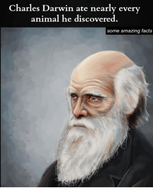 Memes, 🤖, and Darwin: Charles Darwin ate nearly every  animal he discovered.  some amazing facts