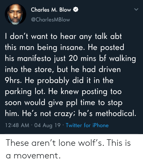 methodical: Charles M. Blow  @CharlesMBlow  I don't want to hear any talk abt  this man being insane. He posted  his manifesto just 20 mins bf walking  into the store, but he had driven  9hrs. He probably did it in the  parking lot. He knew posting to0  soon would give ppl time to stop  him. He's not crazy; he's methodical.  12:48 AM 04 Aug 19 Twitter for iPhone These aren't lone wolf's. This is a movement.