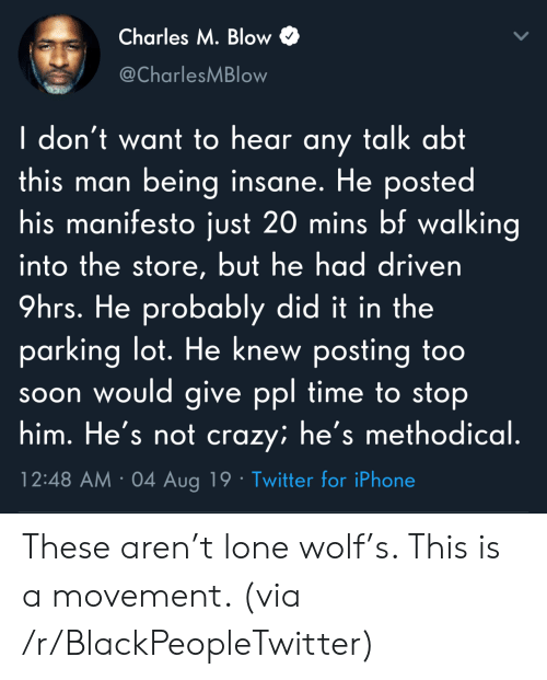 methodical: Charles M. Blow  @CharlesMBlow  I don't want to hear any talk abt  this man being insane. He posted  his manifesto just 20 mins bf walking  into the store, but he had driven  9hrs. He probably did it in the  parking lot. He knew posting too  soon would give ppl time to stop  him. He's not crazy; he's methodical.  12:48 AM 04 Aug 19 Twitter for iPhone These aren't lone wolf's. This is a movement. (via /r/BlackPeopleTwitter)