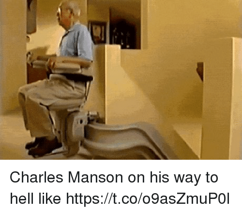 Charles Manson, Hell, and Hood: Charles Manson on his way to hell like https://t.co/o9asZmuP0l