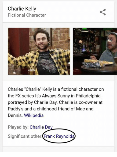 "Charlie, Denny's, and Memes: Charlie Kelly  Fictional Character  Charles ""Charlie"" Kelly is a fictional character on  the FX series It's Always Sunny in Philadelphia,  portrayed by Charlie Day. Charlie is co-owner at  Paddy's and a childhood friend of Mac and  Dennis. Wikipedia  Played by  Charlie Da  Significant other  Frank Reynolds"