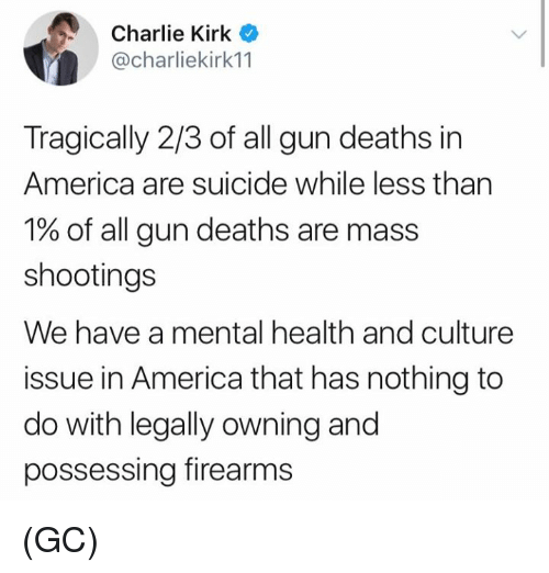 America, Charlie, and Memes: Charlie Kirk C  @charliekirk11  Tragically 2/3 of all gun deaths in  America are suicide while less than  1% of all gun deaths are mass  shootings  We have a mental health and culture  issue in America that has nothing to  do with legally owning and  possessing firearms (GC)