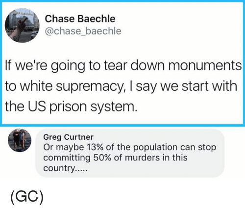 Chasee: Chase Baechle  @chase_baechle  If we're going to tear down monuments  to white supremacy, I say we start with  the US prison systenm  Greg Curtner  Or maybe 13% of the population can stop  committing 50% of murders in this (GC)
