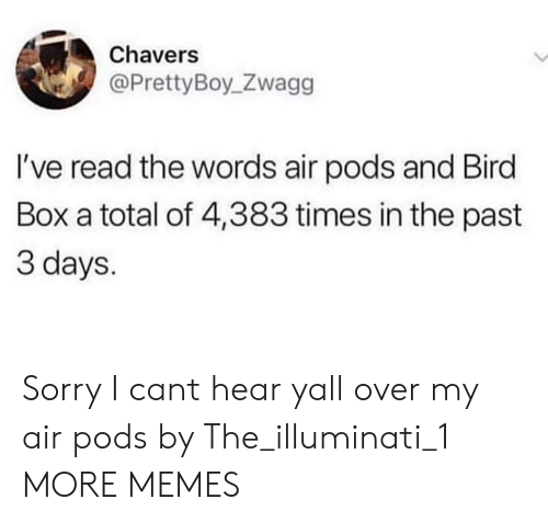 illuminati: Chavers  @PrettyBoy_Zwagg  I've read the words air pods and Bird  Box a total of 4,383 times in the past  3 days. Sorry I cant hear yall over my air pods by The_illuminati_1 MORE MEMES