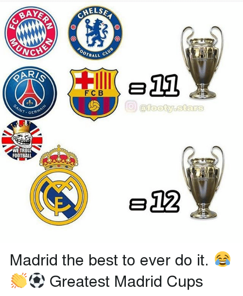 Football, Memes, and Troll: CHE  CHE  BALL CLU  ARI  FCB  GERMAI  WE TROLL  FOOTBALL  e12 Madrid the best to ever do it. 😂👏⚽️ Greatest Madrid Cups