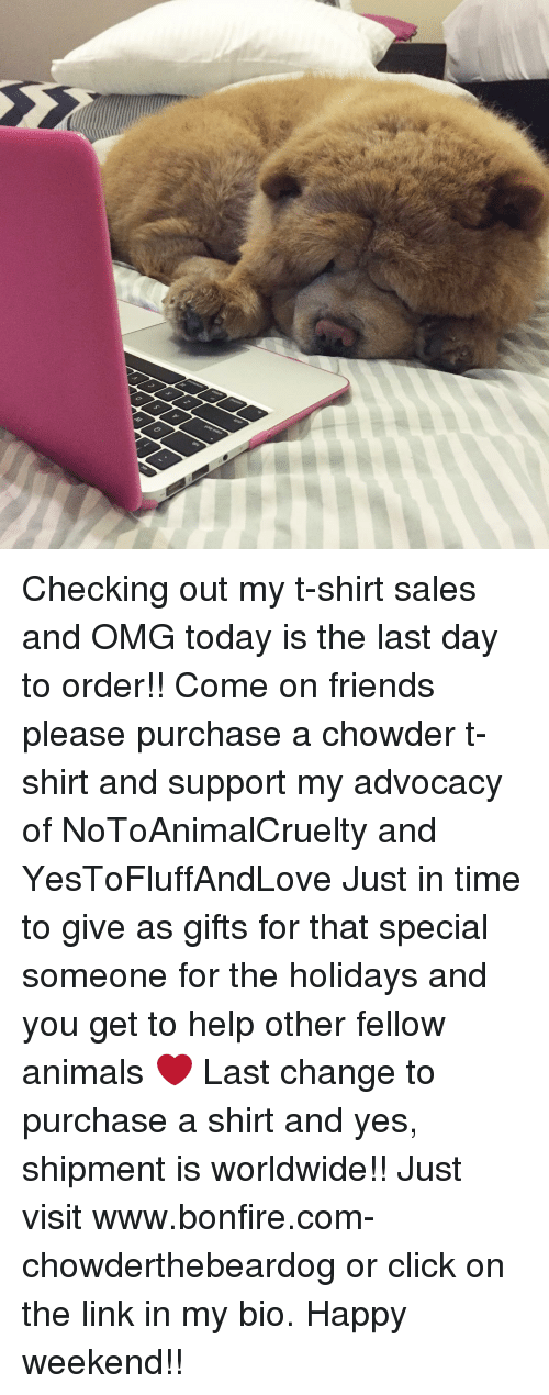 Memes, Chowder, and The Holiday: Checking out my t-shirt sales and OMG today is the last day to order!! Come on friends please purchase a chowder t-shirt and support my advocacy of NoToAnimalCruelty and YesToFluffAndLove Just in time to give as gifts for that special someone for the holidays and you get to help other fellow animals ❤️ Last change to purchase a shirt and yes, shipment is worldwide!! Just visit www.bonfire.com-chowderthebeardog or click on the link in my bio. Happy weekend!!