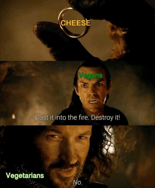 destroy: CHEESE  Vegans  Cast it into the fire. Destroy it!  Vegetarians  No.
