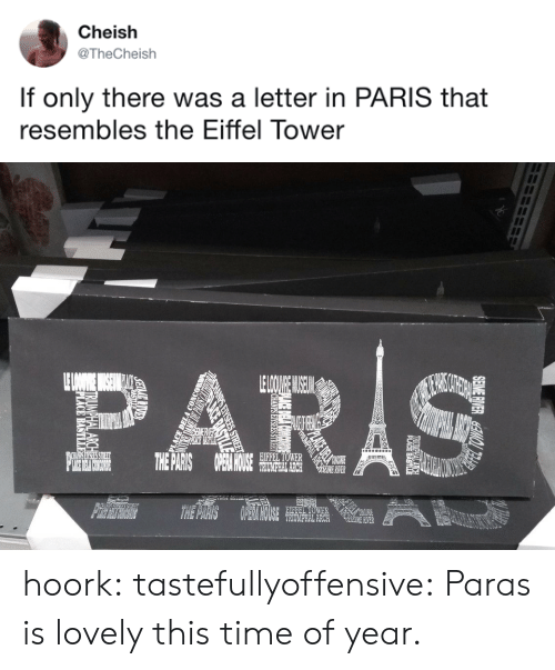 Tumblr, Blog, and Eiffel Tower: Cheish  @TheCheish  If only there was a letter in PARIS that  resembles the Eiffel Tower   0や  EIFFEL TOWER  HOUCE  RIVER  TRIUMPHAL ARCH  TER hoork:  tastefullyoffensive: Paras is lovely this time of year.