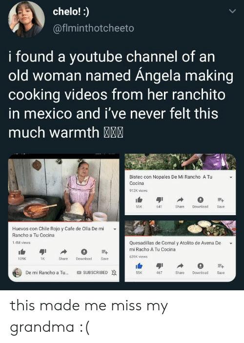 cafe: chelo!:  @fiminthotcheeto  i found a youtube Channel of an  old woman named Ángela making  cooking videos from her ranchito  in mexico and i've never felt this  much warmth MM  Bistec con Nopales De Mi Rancho A Tu  Cocina  912K views  55K  641  Share  Download  Save  Huevos con Chile Rojo y Cafe de Olla De mi  Rancho a Tu Cocina  Quesadillas de Comal y Atolito de Avena De  1.4M views  mi Racho A Tu Cocina  639K views  Download  109K  1K  Share  Save  De mi Rancho a Tu...  SUBSCRIBED  Share  55K  467  Download  Save this made me miss my grandma :(