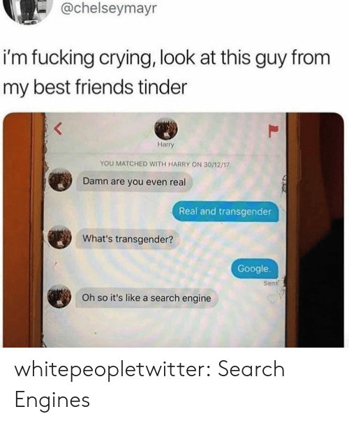 engines: -@chelseymayr  i'm fucking crying, look at this guy from  my best friends tinder  Harry  YOU MATCHED WITH HARRY ON 30/12/17  Damn are you even real  Real and transgender  What's transgender?  Google.  Sent  Oh so it's like a search engine whitepeopletwitter:  Search Engines